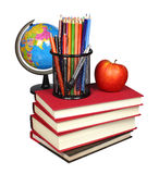 Books and school supplies isolated Royalty Free Stock Photos