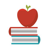 Books school supply with apple icon Stock Photos