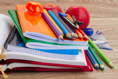 Books with school supply Royalty Free Stock Images