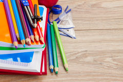 Books with school supply Royalty Free Stock Image