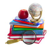 Books with school supply and globe royalty free stock images