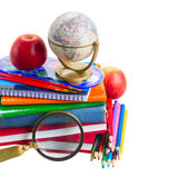 Books with school supply and globe Stock Photos