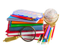 Books with school supply and globe Royalty Free Stock Photography