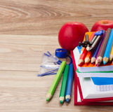 Books with school supply Stock Images