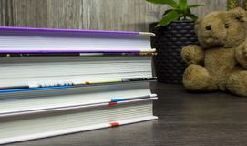 Books for school on wooden table, education, art, College, University, children royalty free stock photo