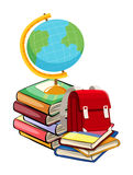 Books and schoolbags on white background Stock Image