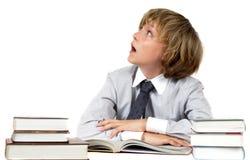 books schoolboyen Arkivbild