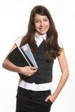 books schoolgirlen Royaltyfri Fotografi