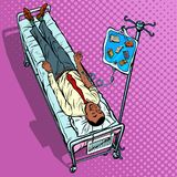 Books, science and knowledge. African man under medical dropper royalty free illustration
