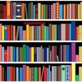Books  seamless texture vertically and horizontally. Bookshelf background. Royalty Free Stock Image