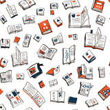Books seamlesss pattern, sketchy design Stock Photography