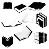 Books. Set of black and white book illustrations Stock Images