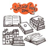 Books Set Black And White Royalty Free Stock Photo