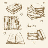 Books set hand drawn vector sketch.. Opened and closed books, books on the shelf, stacked books and single book  on white background Royalty Free Stock Images