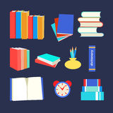 Books set icon in flat design style Stock Photography