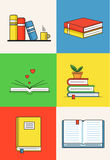 Books set in line design trend style. Royalty Free Stock Photography