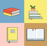 Books set in line design trend style. Royalty Free Stock Images