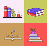 Books set in line design trend style. Royalty Free Stock Image