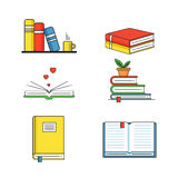 Books set in line design trend style. Stock Photos