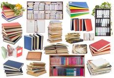 Books set. Old used books, magazines, notebooks set collage isolated Royalty Free Stock Photography