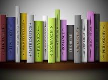 Books on shelf. Books of various literary genres on shelf. Eps 10 Royalty Free Stock Image
