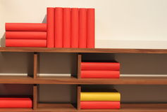 Books on shelf. Colorful books on bookshelf set horizontal and vertical Royalty Free Stock Image