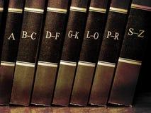 Books on Shelf with Alphabet Royalty Free Stock Photos