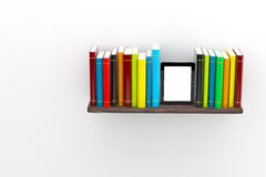 Books on the shelf with a laptop. 3d illustration Royalty Free Stock Images