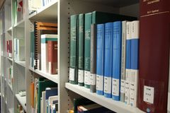 Books on Shelf in Library Royalty Free Stock Photo