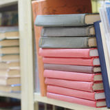 Books on the shelf in a library Stock Photo