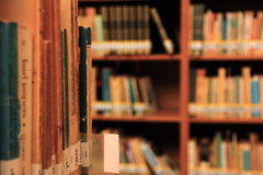 Books on a shelf in library. Various books on shelves in the public library  background Royalty Free Stock Image