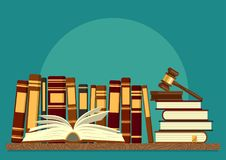 Books on shelf with open book and judge gavel. On teal background. Legal, juridical education. Jurisprudence studying, law theory. Vector illustration Stock Image