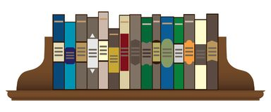 Books on a Shelf. A row of books on a wooden shelf held in place by bookends royalty free illustration