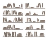 Vector books on shelf. Books on the shelves simply retro vector illustration. Vintage shelf - design objects  on white background for decorations, background Stock Photo