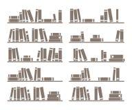 Vector books on shelf. Books on the shelves simply retro vector illustration. Vintage shelf - design objects on white background for decorations, background stock illustration