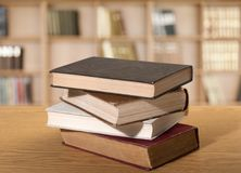 Books. Shelf stack old studying literature law Stock Images