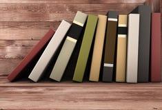 Books on the shelf. Books on the wooden shelf. 3d illustration Stock Image