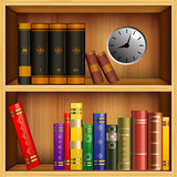 Books on the shelves. Diverse books on wooden shelves and gray with creative hodynykom shelf Royalty Free Stock Photography