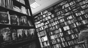 Books on Shelves in Library Stock Images