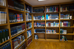 Books on the shelves of the Library of University of Thessalonik Royalty Free Stock Photo