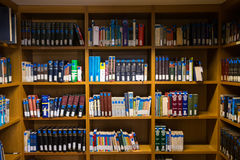 Books on the shelves of the Library of University of Thessalonik Stock Photo