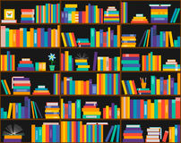 Books on shelves, seamless pattern. Bookcase, library. A bookcase in the library. seamless background Stock Photo