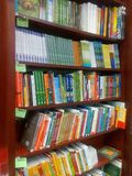 Books shelves. Shelves with books at store Royalty Free Stock Photography