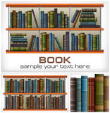 Books on shelves & text Stock Photography