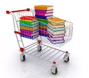 Books in shopping cart. 3D render stock illustration