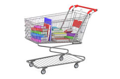 Books in shopping cart Royalty Free Stock Image
