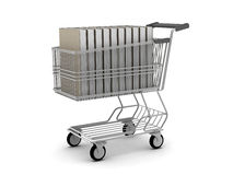 Books in shopping cart Royalty Free Stock Photos