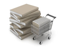 Books and shopping cart Stock Image