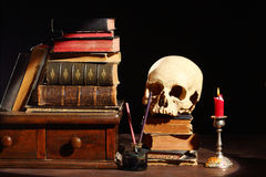 Books and skull Stock Photography