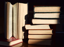 Books. A source of knowledge. They teach us to think, to respect people, to be honest Stock Photo